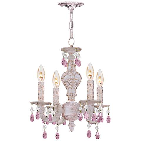 "Sutton 13 1/2"" Wide Antique White Chandelier"