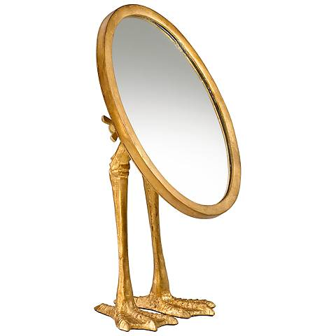 "Duck Leg 17 1/4"" x 13"" Standing Mirror in Gold"