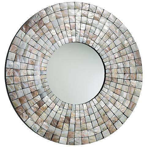"Mosaic Capiz Shell 36"" Round Wall Mirror"