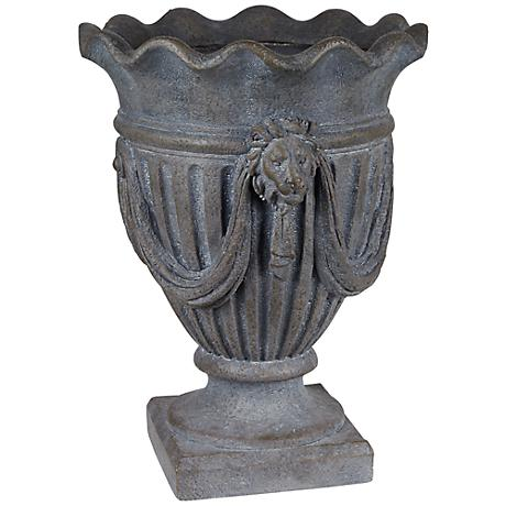 "Gray Wash 21"" High Lion Head Outdoor Planter"