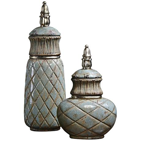 Uttermost Deniz Crackled Sea Foam Ceramic Canister Set of 2