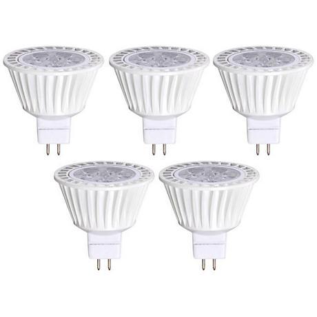 Bioluz 7 Watt MR16 Dimmable 3000K LED Light Bulb 5-Pack