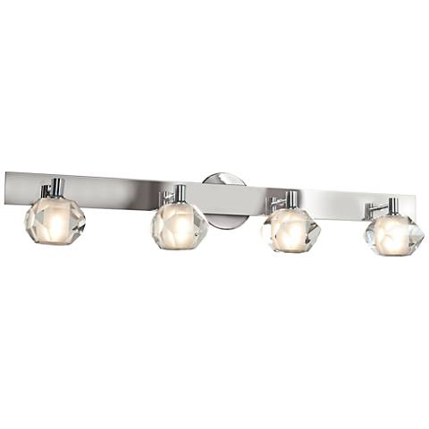 "Glas_e 34"" Wide Chrome Frosted Glass Sphere Bath Light"