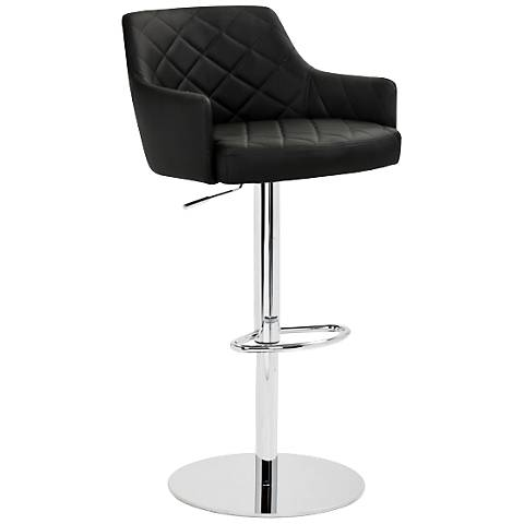 Chase Diamond-Tufted Black Adjustable Barstool