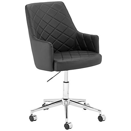Chase Diamond-Tufted Black Faux Leather Office Chair