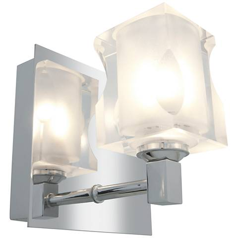 "Glas_e 4 3/4"" Wide Chrome Frosted Glass Square Wall Sconce"