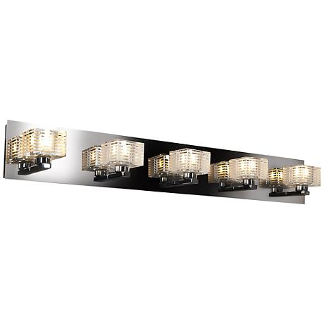 """Sophie 33"""" Wide Chrome Frosted Crystal Glass Bath Light"""