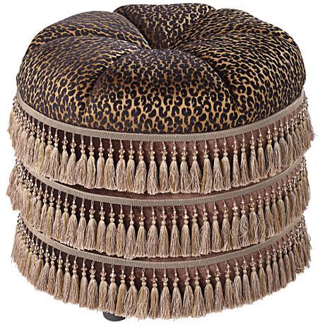 Tatiana Castello Smoke Leopard Round Tuffet Ottoman