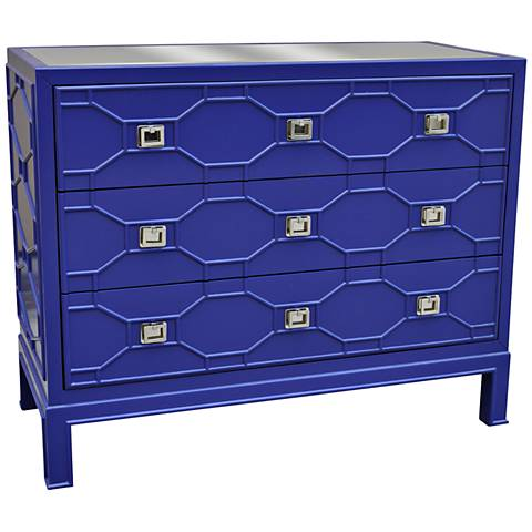 Crestview Collection Crestwood Blue Chippendale Accent Chest
