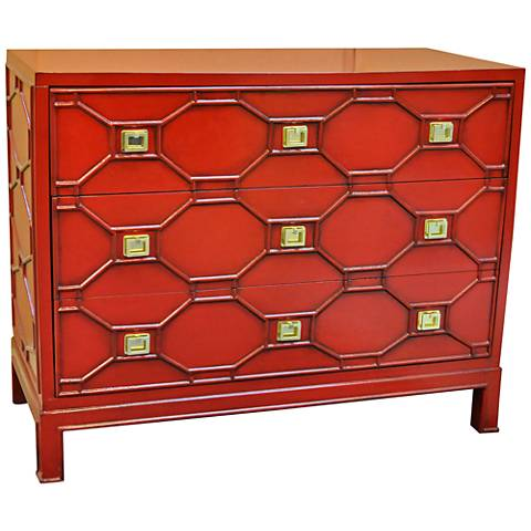 Crestview Collection Crestwood Red Chippendale Accent Chest