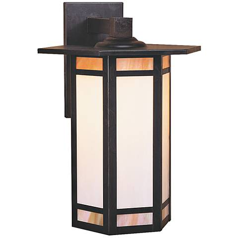 "Etolle 14 3/4"" High Combo-Glass Bronze Outdoor Wall Light"