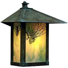 Evergreen 13 H Pine Filigree Glass Outdoor Wall Light
