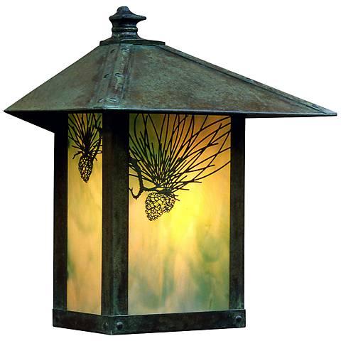 """Evergreen 13""""H Pine Filigree Glass Outdoor Wall Light"""