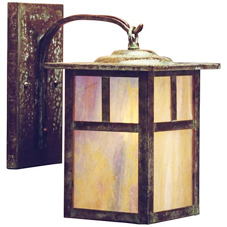 """Mission 11 3/4""""H Gold Glass Lantern Outdoor Wall Light"""
