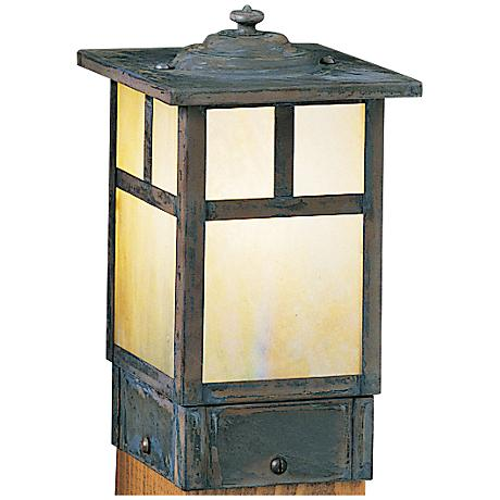 """Mission 6 3/4"""" High Gold Glass Square Outdoor Post Light"""