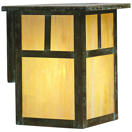 "Mission 7 1/4""H Iridescent Gold Glass Outdoor Wall Light"
