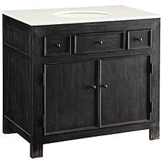 one sink vanity cabinets. Cuomo Emerson Distressed Black 36  Wide Sink Vanity Single Bathroom Vanities Cabinets And Storage Lamps Plus