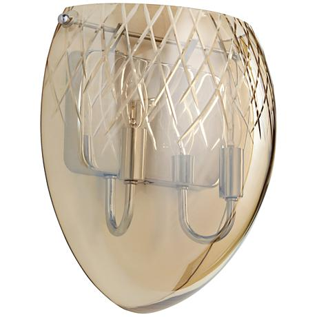 """Etched 11 3/4""""H 2-Light Clear Cognac Glass Wall Sconce"""