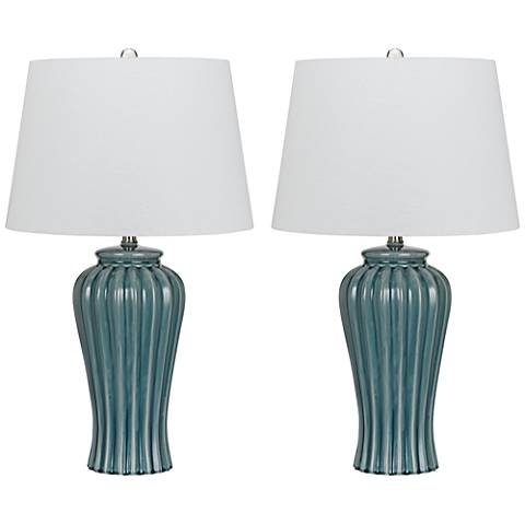 Eunice Slate Blue Ribbed Ceramic Table Lamp Set of 2