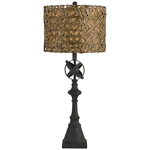 Deming Charcoal Black Metal Buffet Table Lamp