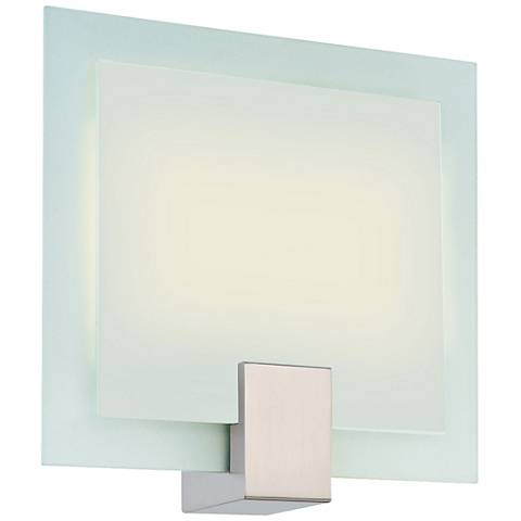 "Sonneman Dakota 10"" High Satin Nickel Square Wall Sconce"
