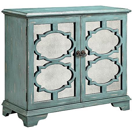 Candice Antiqued Mirror Ocean Blue 2-Door Accent Cabinet