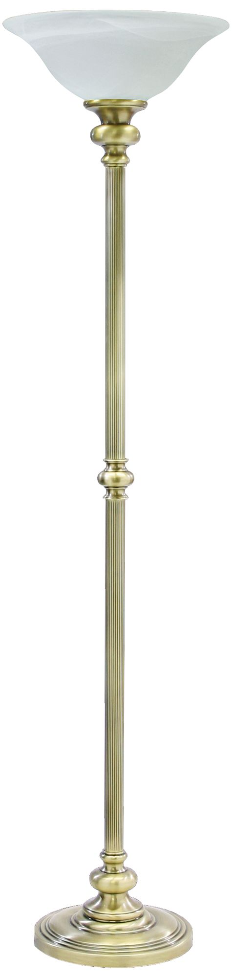 house of troy newport torchiere floor lamp in antique brass