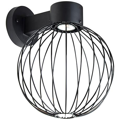 "Sultana 14"" High Black Globe LED Outdoor Wall Light"