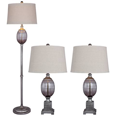 Harmon Smoke Gray Glass 3-Piece Floor and Table Lamp Set
