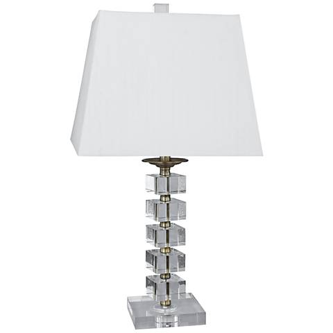Marquez Antique Brass Stacked Cube Crystal Table Lamp
