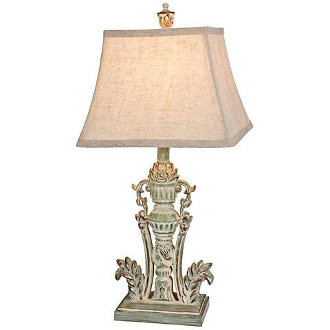 Gale Acanthus Leaf Antique Green Table Lamp