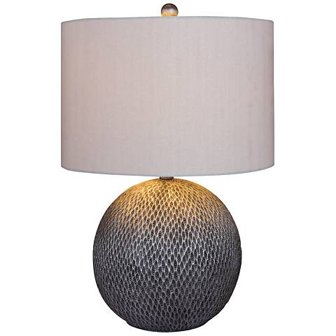 San Manuel Textured Silver Round Table Lamp