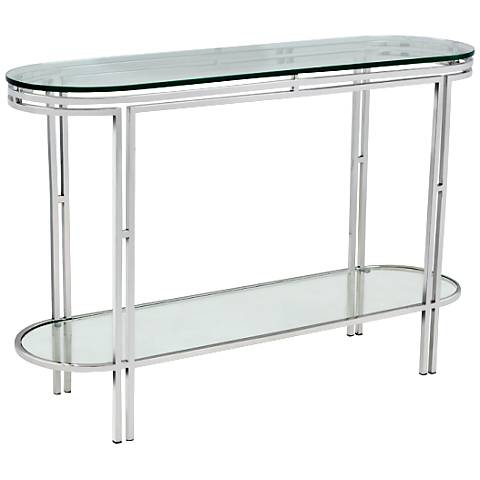 Andros Oval Glass Polished Steel Console Table