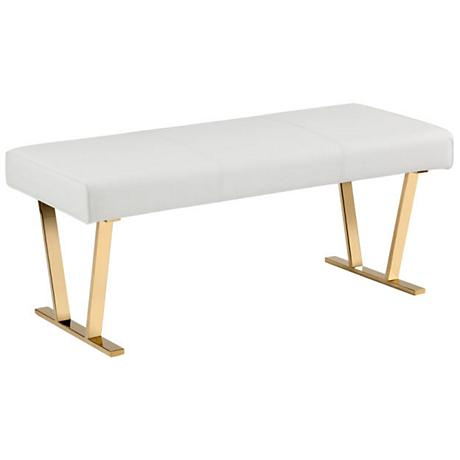 Keele Modern White Faux Leather Bench