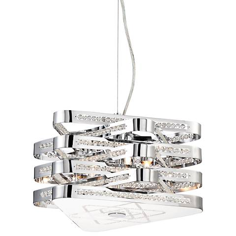 "Triangles 13 1/2"" Wide Modern Chrome Pendant Chandelier"
