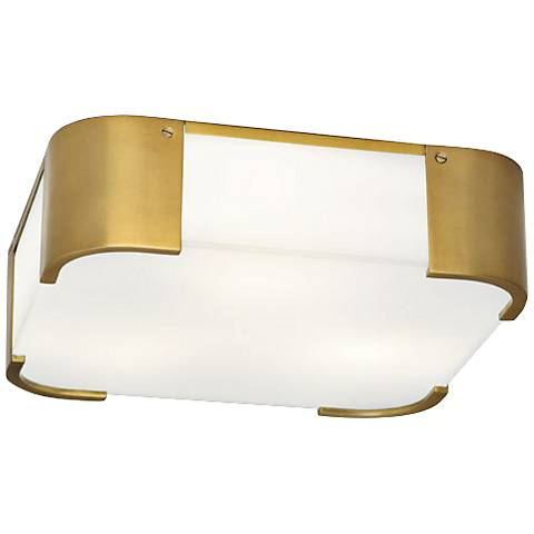 "Robert Abbey Bryce 14"" Wide Brass Square Ceiling Light"