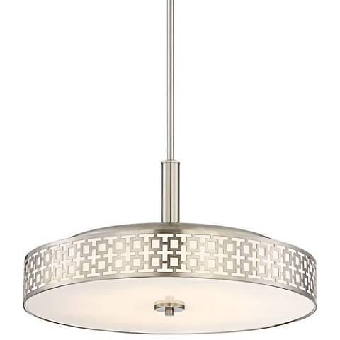 "Possini Euro Tambor Trellis 20""W Brushed Nickel LED Pendant"