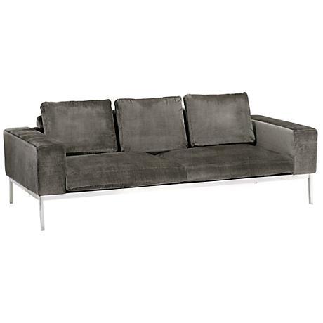 Adder Bella Shale Gray Velvet 3-Seat Sofa