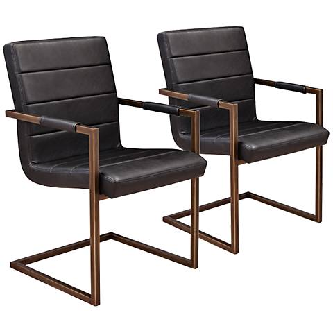 Jafar Black Faux Leather Upholstered Dining Chair Set of 2