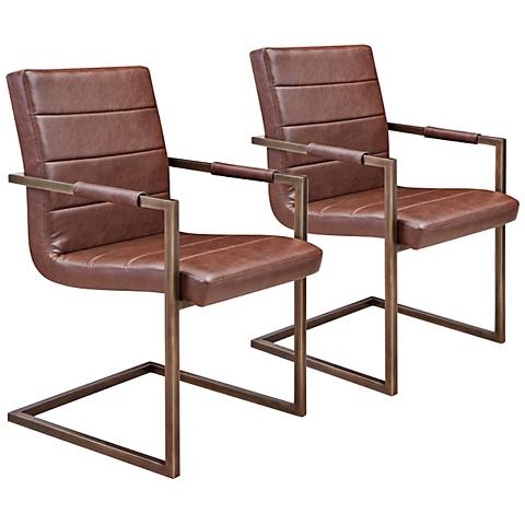Jafar Cognac Faux Leather Upholstered Dining Chair Set of 2