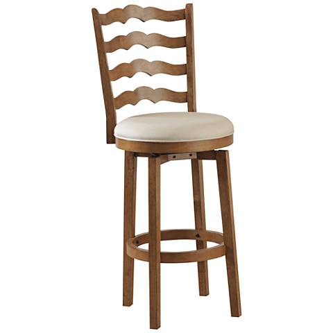 "Big & Tall Ladderback 31"" Chestnut Swivel Barstool"
