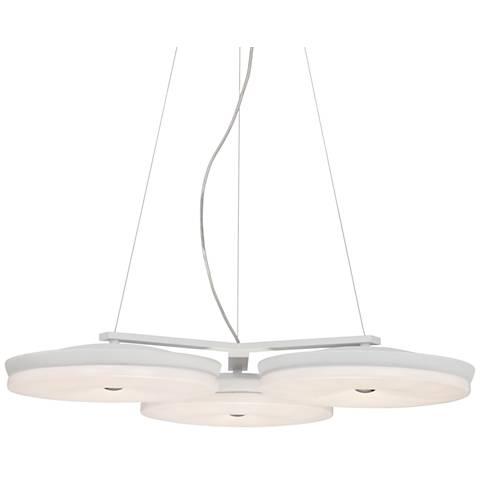 "Possini Euro Discus 27"" Wide White 3-Light LED Pendant"