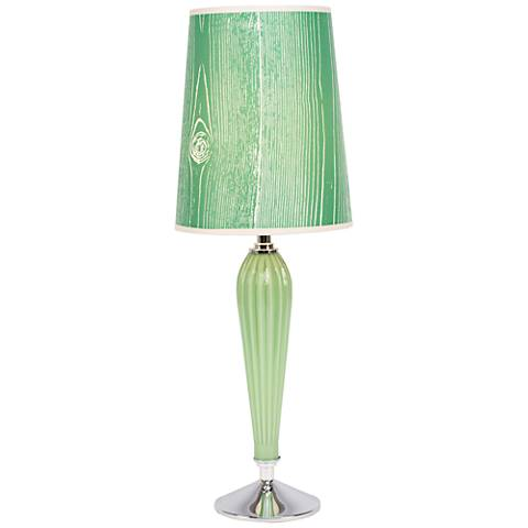 Colette Apple Glass Table Lamp with Faux Bois Kelly Shade