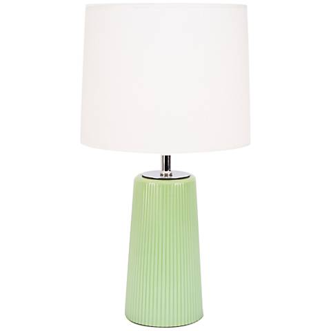 Martha Apple Glass Table Lamp with Ivory Shade