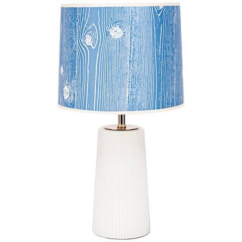 Martha Milk Glass Table Lamp with Faux Bois Marine Shade