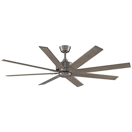 "63"" Levon DC Brushed Nickel - Washed Pine Ceiling Fan"