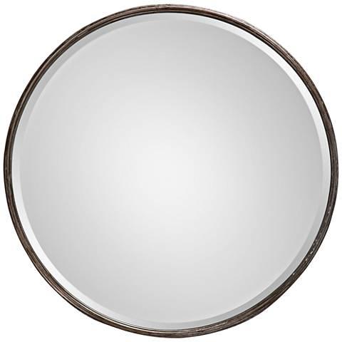"Uttermost Nova Rust Black 24"" Round Wall Mirror"