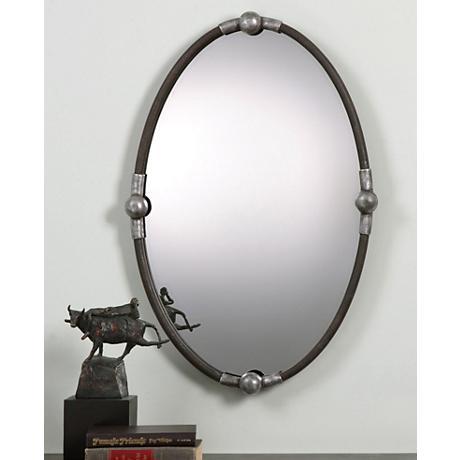 """Uttermost Nova Rust Black 22""""x32"""" Oval Wall Mirror"""