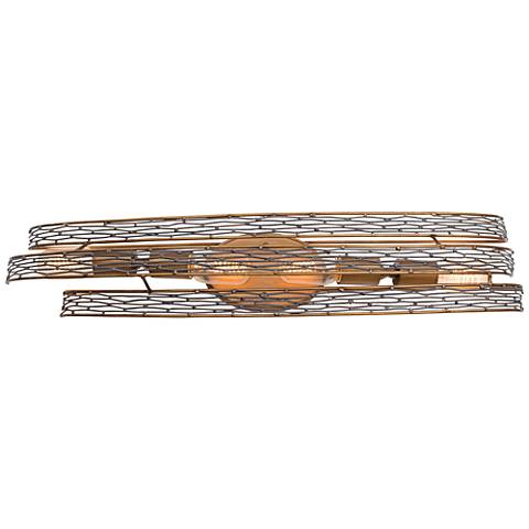 "Varaluz Flow 29"" Wide Hammered Ore Bath Light"