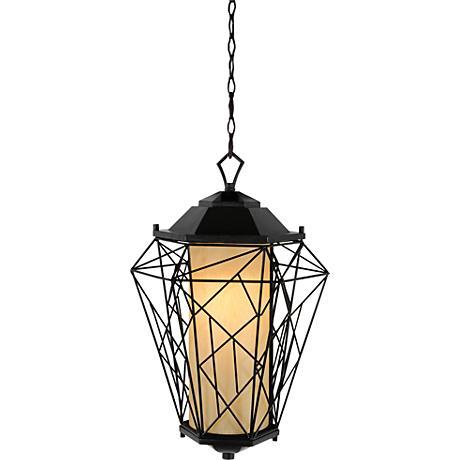 "Varaluz Wright Stuff 18""H Black Outdoor Hanging Light"